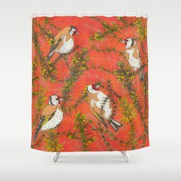 Goldfinches in Gorse Shower Curtain