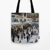 liverpool Tote Bags featuring Liverpool Street Station London by David Pyatt