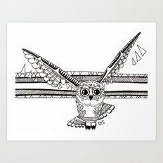 Owl fly you through the night Art Print