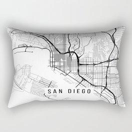 San Diego Map, California USA - Black & White Portrait Rectangular Pillow