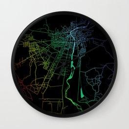 Kutaisi, Georgia, City, Map, Rainbow, Map, Art, Print Wall Clock