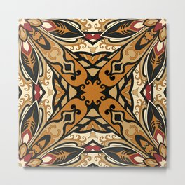 Abstract old ethnic ornament brown color Metal Print