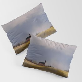 Distant Red Church on a Stormy Day Pillow Sham