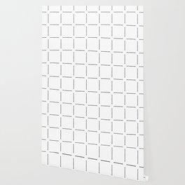Block Print Simple Squares in Black & White Wallpaper