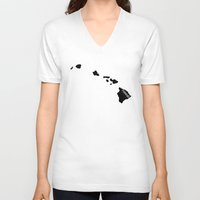 hawaii V-neck T-shirts featuring Hawaii by Isabel Moreno-Garcia