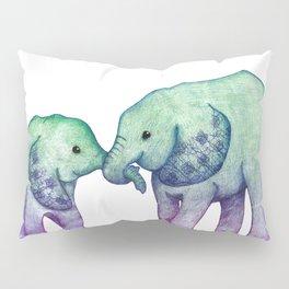 Baby Elephant Love - ombre mint & purple Pillow Sham