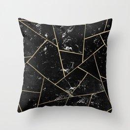 Black Marble Gold Geometric Glam #1 #geo #decor #art #society6 Throw Pillow