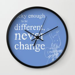 Taylor original handmade drawing and quote cyan background Wall Clock