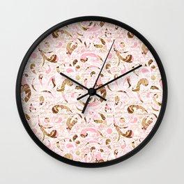 Pink Brown Swirls Wall Clock