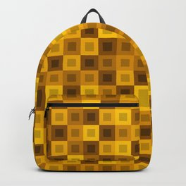 Strict tile of yellow intersecting rectangles and gold bricks. Backpack