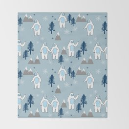 Yeti winter christmas cute forest pattern kids nursery holiday gifts Throw Blanket