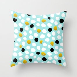 pois noirs blancs or Throw Pillow