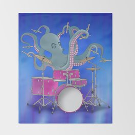 Octopus Playing Drums - Blue Throw Blanket
