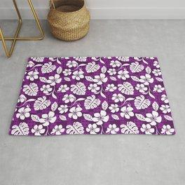 Purple & White Hibiscus Aloha Hawaiian Flower Blooms and Tropical Banana Leaves Pattern Rug