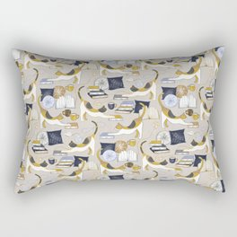 A Comforting Cup of Coffee in The Cozy Company of Cats - Caturday Reading Rectangular Pillow