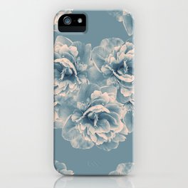 Blush Blue Peony Flower Bouquet #1 #floral #decor #art #society6 iPhone Case