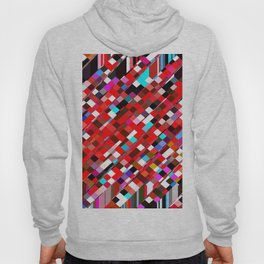 geometric square pixel pattern abstract background in red blue pink Hoody