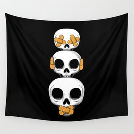 Cute Skulls No Evil II Wall Tapestry