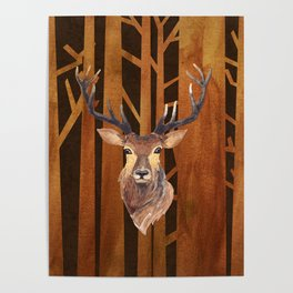 Proud deer in forest 1- Watercolor illustration Poster