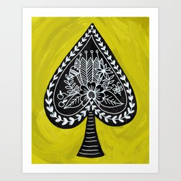 Spade and Flowers Painting Art Print