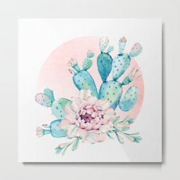Desert Cactus Flower with Rose Gold Sun Metal Print