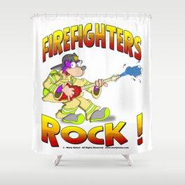 FIRE FIGHTERS ROCK Vibrant Haltone Edition Shower Curtain
