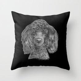 Poodle - black Throw Pillow