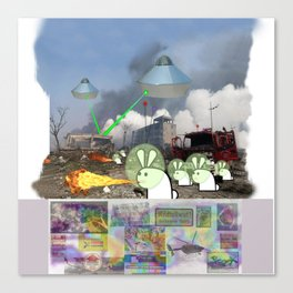 Cute Bunny Apocalypse 2 Canvas Print