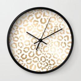 Elegant Gold White Leopard Cheetah Animal Print Wall Clock