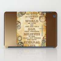 bible verse iPad Cases featuring Steampunk Bible Verse For God So Loved the World by Whimsy and Nonsense