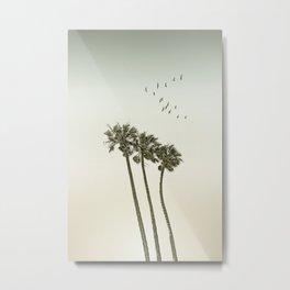 Vintage palm trees at sunset Metal Print