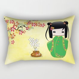 Sakura Kokeshi Doll Rectangular Pillow