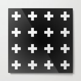 Medium Swiss Cross Black Pattern Metal Print