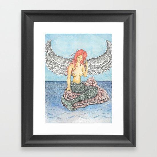 Winged Mermaid Framed Art Print