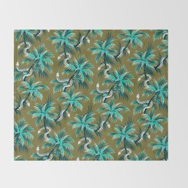 Snake Palms - Light Teal Mustard Throw Blanket
