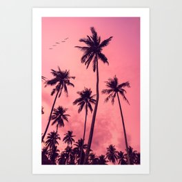 Palmtrees and pink sunset in Los Angeles. Travel print Los Angeles- Photography wall art colourfull. Art print Art Print