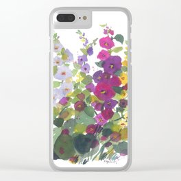 Purple Hollyhock Garden Clear iPhone Case