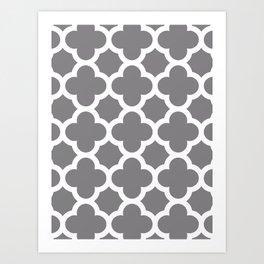 Gray Quatrefoil Art Print