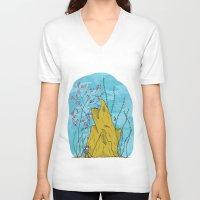 life aquatic V-neck T-shirts featuring Our Life Aquatic by Hamburger Hands