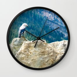 Digital Painting of a Cute Mountain Bird Sitting on a Rock in Banff National Park, Alberta Wall Clock