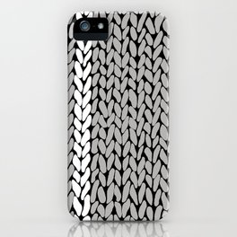 Grey Knit With White Stripe iPhone Case