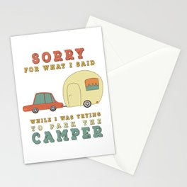 Camping Camper - Sorry For What I Said Vintage Retro Stationery Cards