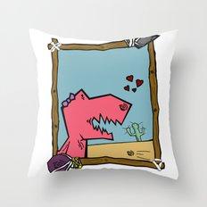 DINO GIRL   Throw Pillow
