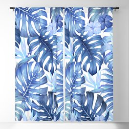 Blue tropical pattern  (monstera leaves and bird of paradise flowers Blackout Curtain