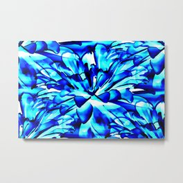Painterly Ocean Blue Floral Abstract Metal Print