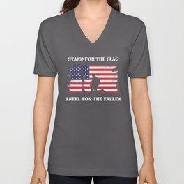 Stand For The Flag Kneel For The Fallen Unisex V-Neck