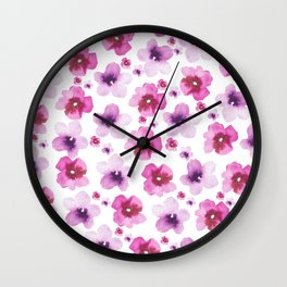 Hand painted blush pink lavender watercolor floral Wall Clock