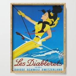 Plakat les diablerets 1200 3000 m suisse Serving Tray