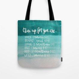 chin up (teal) Tote Bag
