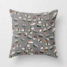 Sushi on Gray Throw Pillow